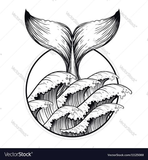 Whale tail in sea waves boho blackwork tattoo vector image on