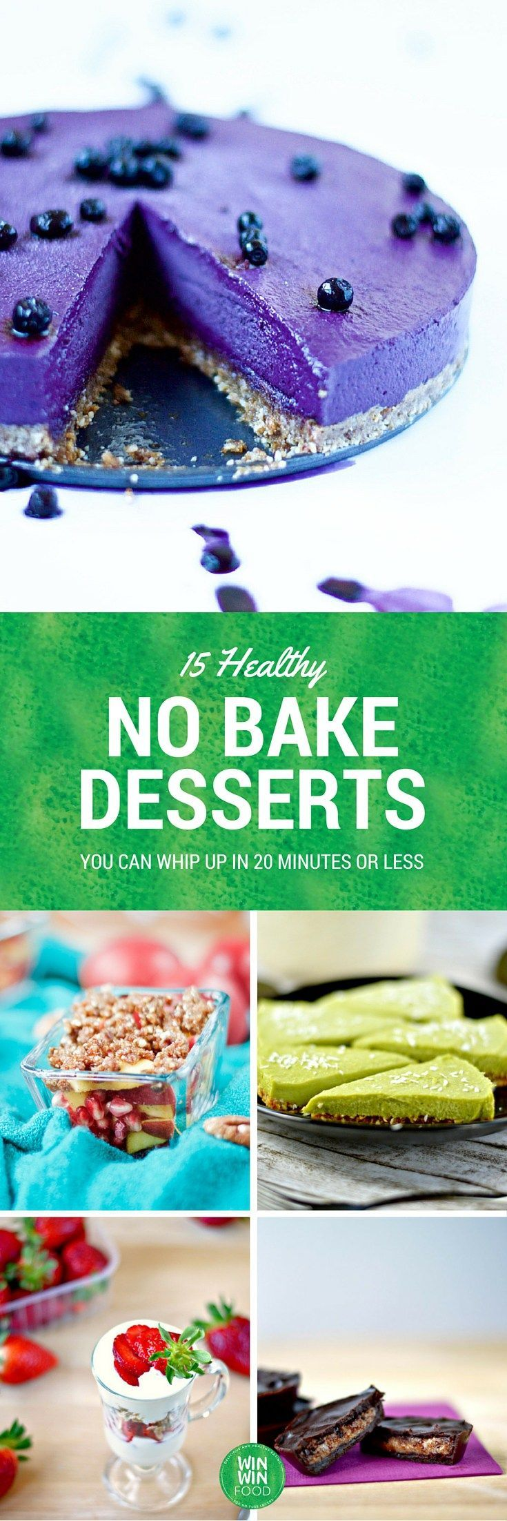 15 Healthy No Bake Desserts You Can Whip Up in 20 Minutes or Less | WIN-WINFOOD.com #healthy #vegan #glutenfree