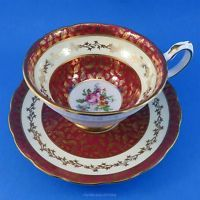 Deep Red and Gold with Floral Bouquet Center Grosvenor Tea Cup and Saucer Set