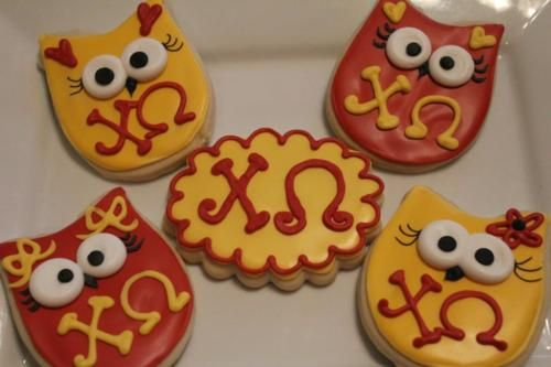 cookies!Chiomega Chios, Bid Day, Chi O', Owl Cookies, Hoot Hoot, Owls Cookies, Chi Omega, Hootie Hoot, Baby Hootie
