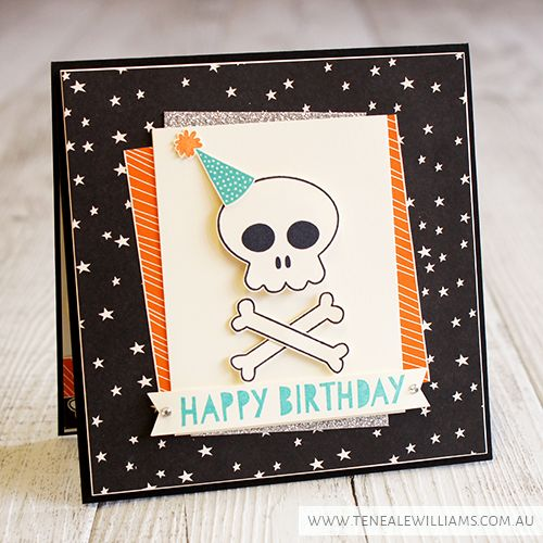 Teneale Williams   Stampin'Up! Artisan Blog Hop   Howl-o-ween Treat Birthday Card. Love the off centre layers
