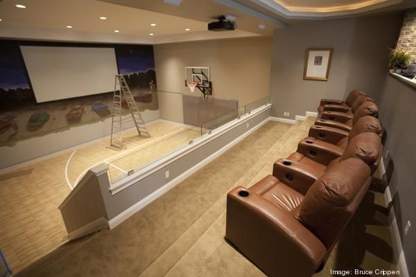 Home theater and basketball goal in the basement dream for Basketball court at home