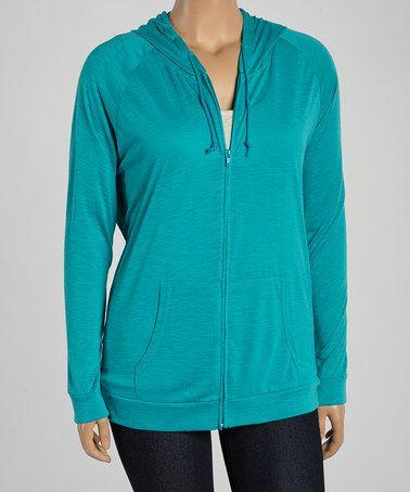 Troo $19.99  Look at this #zulilyfind! Green Zip-Up Hoodie - Women & Plus #zulilyfinds