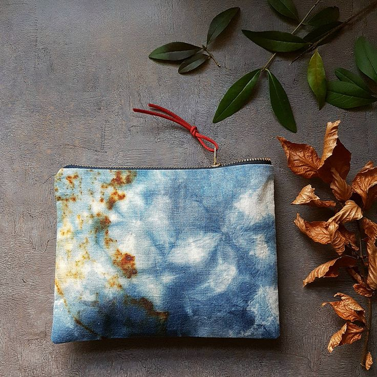 Indigo dyed and rust printed linen pouch . I like those colours together   by red2white