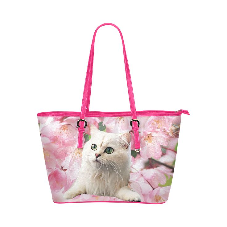 Cat and Flowers Leather Tote Bag/Large. FREE Shipping. #artsadd #bags #cats
