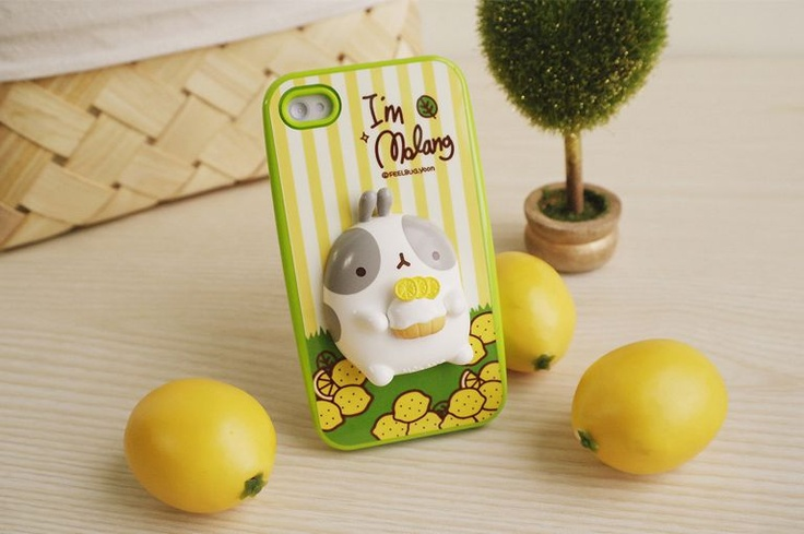 iPhone 4 Cute Molang Change Up 3D Jelly Case Lime Lemon