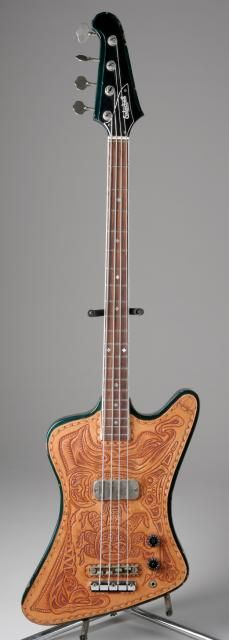 This Gibson mid-60's Thunderbird Bass belonged to Jethro Tull bassist Glen Cornick. Note the hand tooled leather face covering...