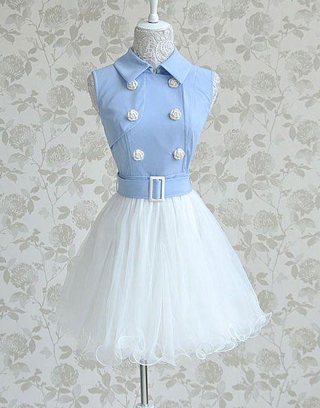 Blue White Polo Collar Double-Breasted Slim Waist Big Gauze Swing Sleeveless Dress(img 6)