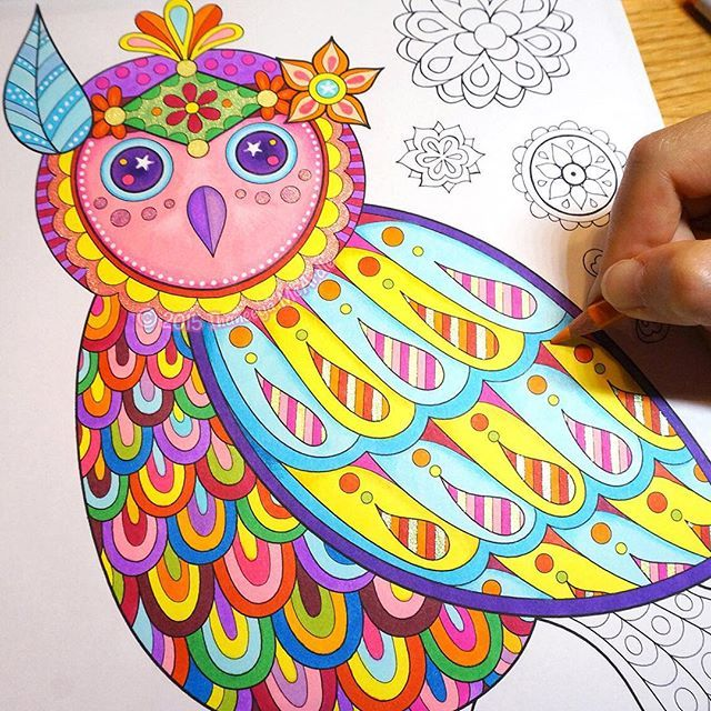 An Owl From My Free Spirit Coloring Book Colored In With Copic Sketch Markers
