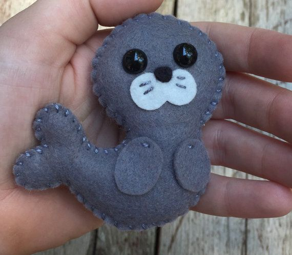 Wool felt seal / sea lion christmas ornament / key chain / mobile attachment