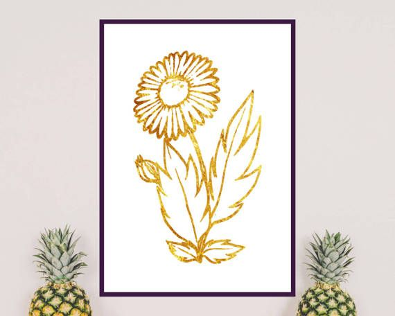 It is ideal to decorate your room or living room. Spring is coming so you can prepare for it with this nice gold flower I made for you. Print it and then hang on the wall.  Printable art with gold flower.  Gold flower on white background  The printable is ready to print just after purchasing.