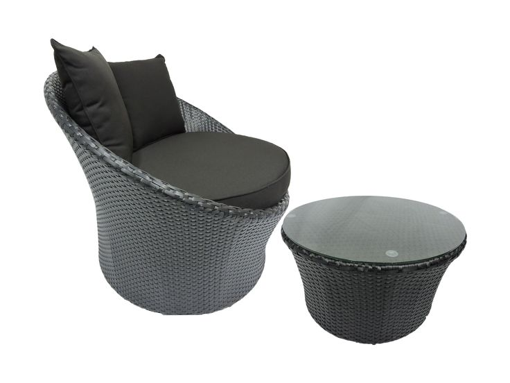 Wicker outdoor chair, Black Grace chair with ottoman/coffee table.