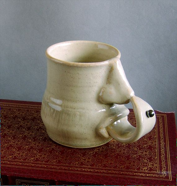 Small unique one of a kind nose mug in a by OnTheSideCreations