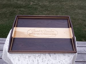 Walnut and Maple Serving Tray with carved bottom by 8th Line Creations