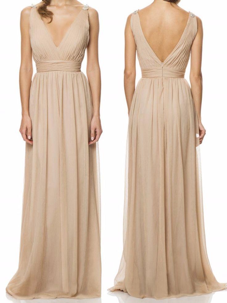 champagne long bridesmaid dress