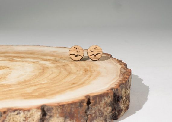 Flock Of Birds Stud Earrings Bamboo by BeamDesigns on Etsy
