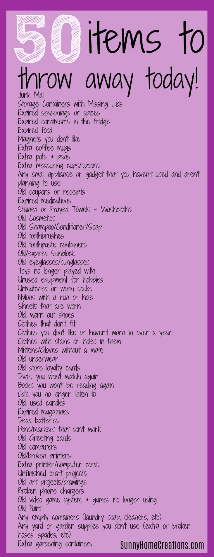 """50 items to throw away today! Are you wondering """"How do I start decluttering?"""" or """"How do you get rid of clutter?"""". Not to worry, here are 50 things you can throw away today so you can start to declutter fast!"""