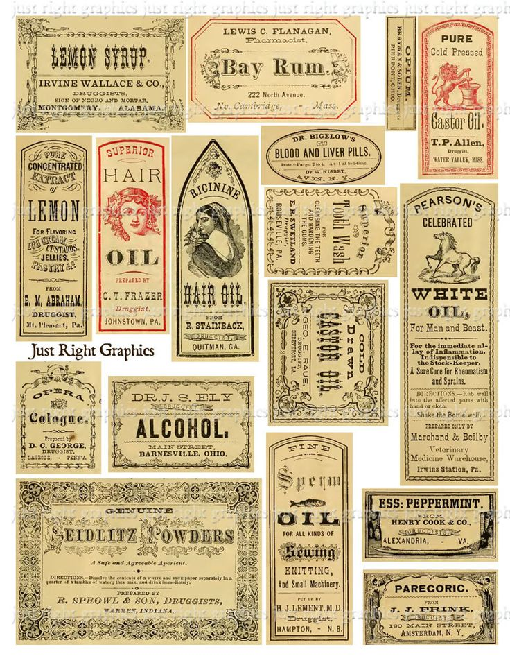 Vintage Apothecary Labels Ephemera Digital Collage Sheet. $2.95, via Etsy.