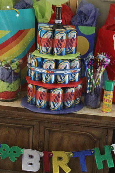 Happy birthday beer cake for Andrew's 21st birthday