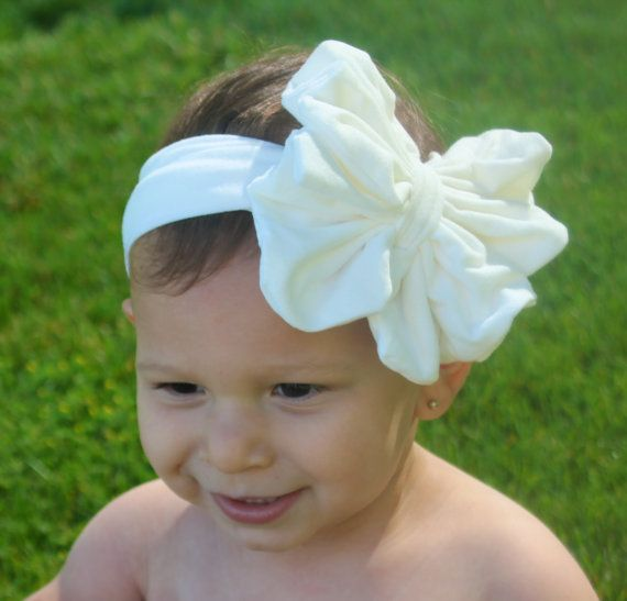 White Baby Bow Headband White Floppy Bow by RoyalSistersBoutique