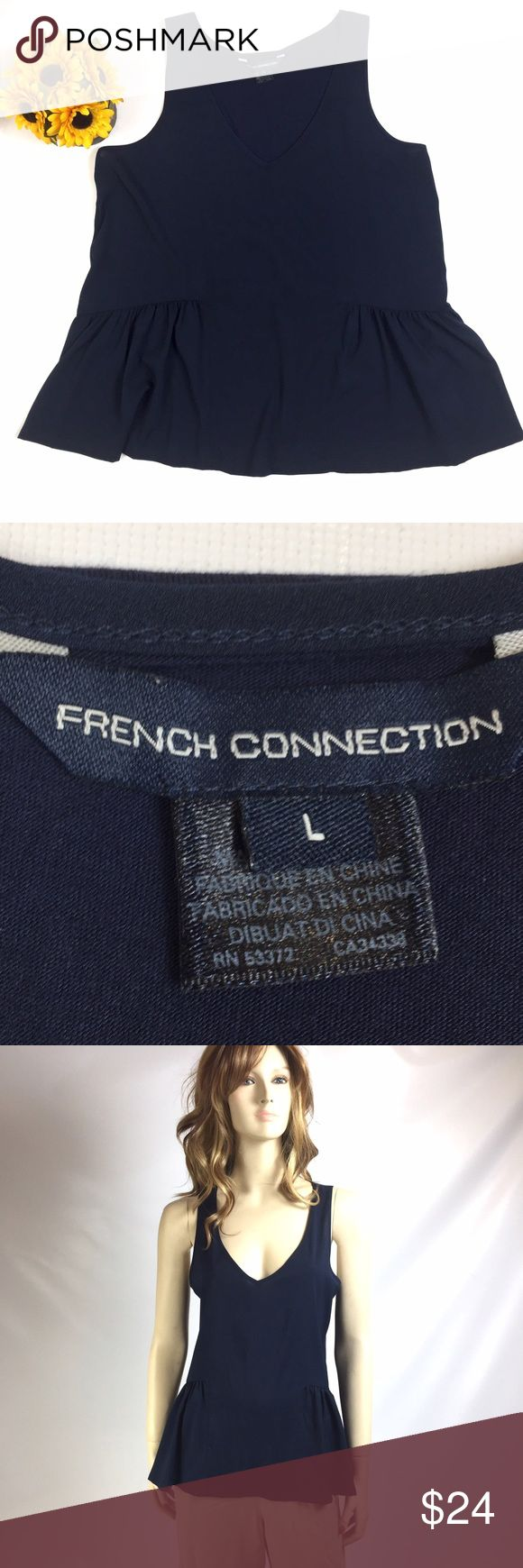 "FRENCH CONNECTION NAVY V-NECK TOP LARGE FRENCH CONNECTION NAVY SLEEVELESS TOP WITH RUFFLE LIKE BOTTOM IN FRONT  36 1/2"" BUST, 25"" LENGTH  FEMININE AND GRACEFUL TOP THAT CAN BE PAIRED WITH PANTS, SHORTS OR SKIRT  COLD WASH INSIDE OUT  SMOKE-FREE-HOME French Connection Tops"