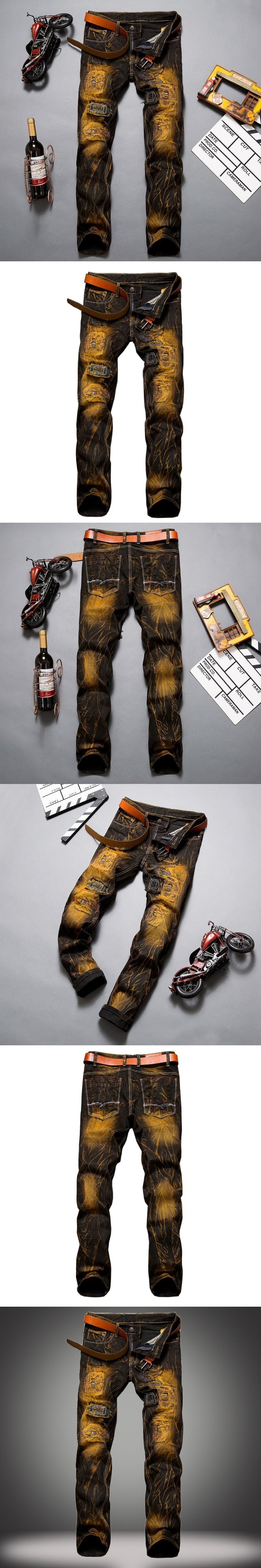 Metrosexual Straight Destroyed Jeans Brand Casual Slim Ripped Jeans Homme Retro Men's Trousers Denim High Quality Cotton 28-38