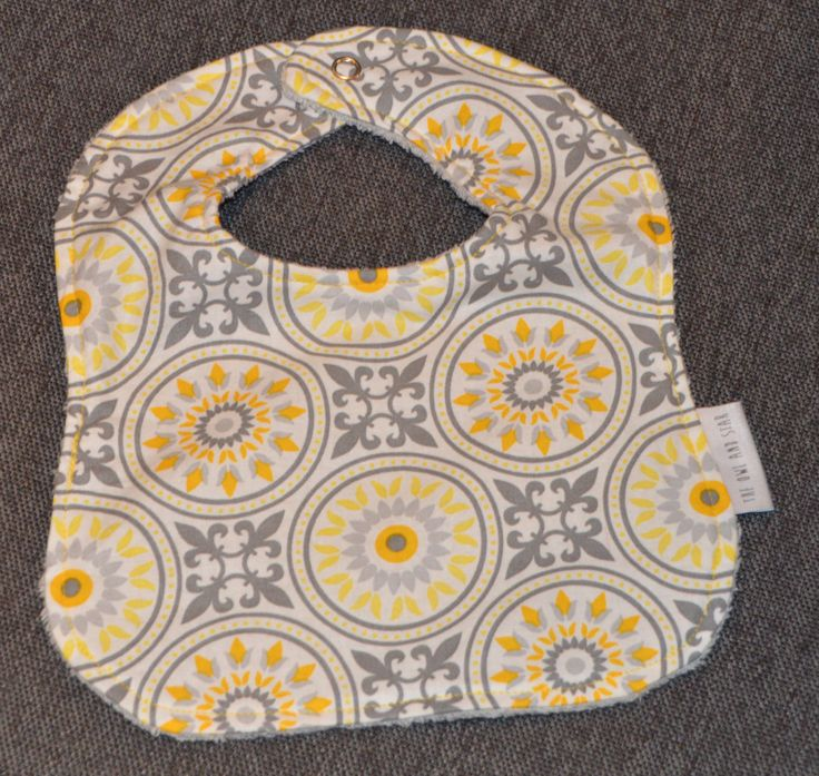 Baby Bib with snap fastener - Yellow & Grey by TheOwlandStar on Etsy