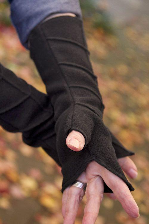 Leaf Pattern Fleece Arm Warmers