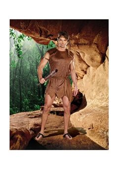 Ultra suede cave man tunic also includes a head scarf, sash, club, and arm band. (5 piece set)