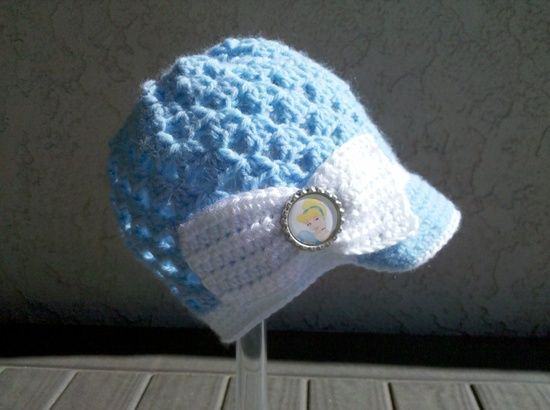 Crocheted Disney Princess Cinderella Inspired Youth Hat. PERFECT for the Disney Christmas Vacation!