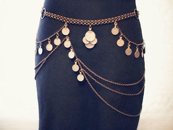 The Maia Belt - Art Deco Kuchi Chain Belt - Tribal Belly Dance Coin Belt - Antique Bronze or Silver