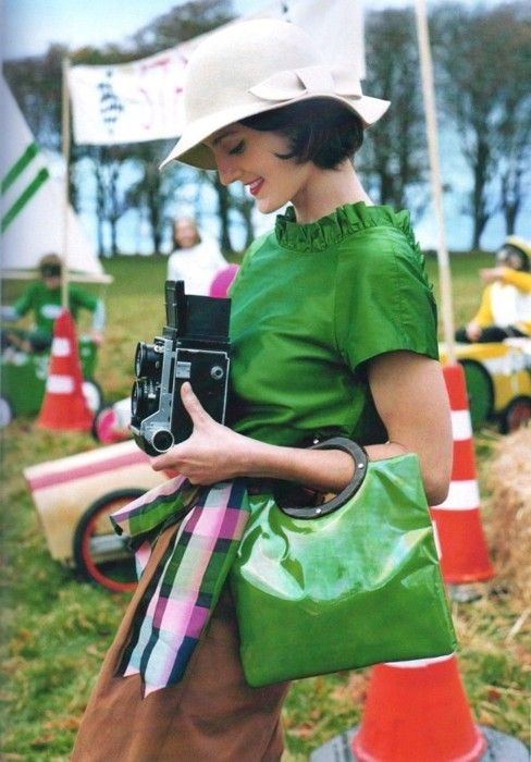hat, camera, outfit...
