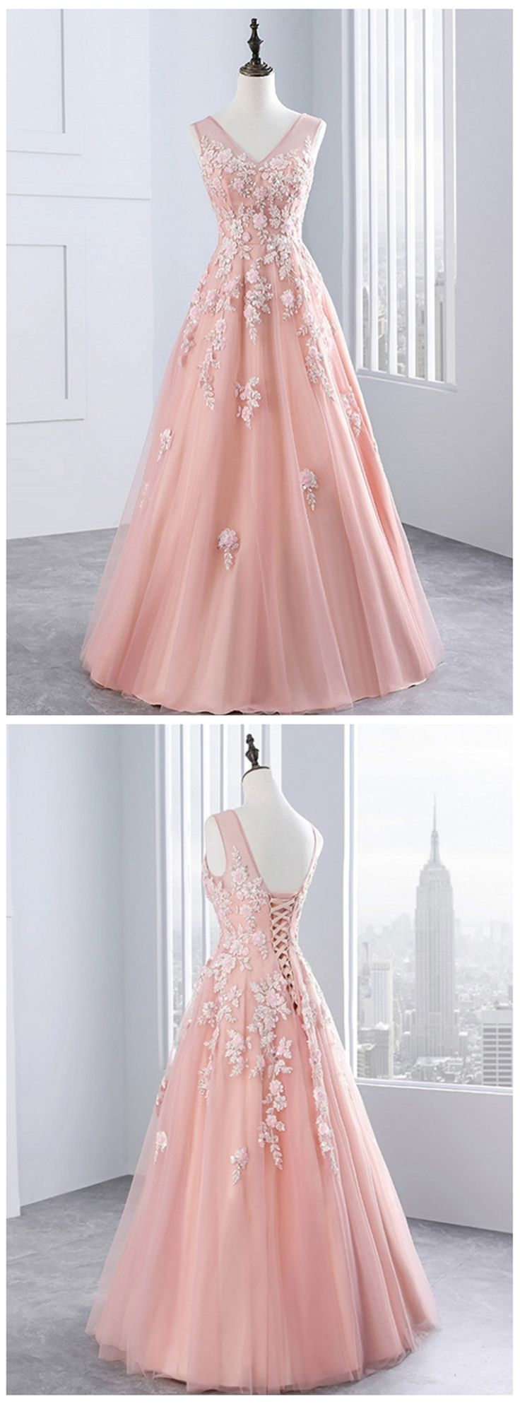 Sweet 16 Prom Dress, Cute Lace Appliqued Long Prom Dress for Teens #promdress #promdresses #prom #dress #gowns