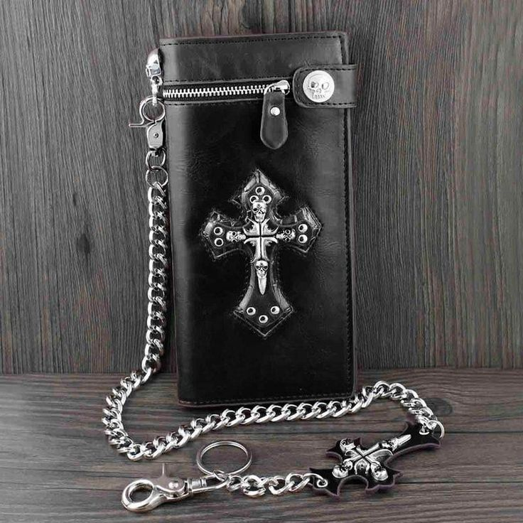 Skull Cross Black Leather Wallet With Chain