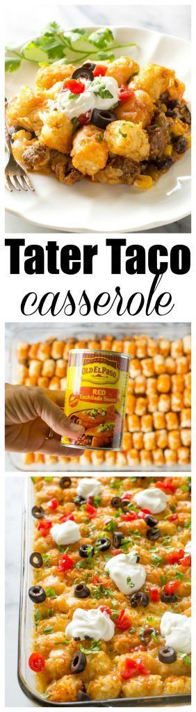 Tater Taco Casserole - A Mexican mixture of taco meat, beans, corn, and cheese topped with tater tots and enchilada sauce.