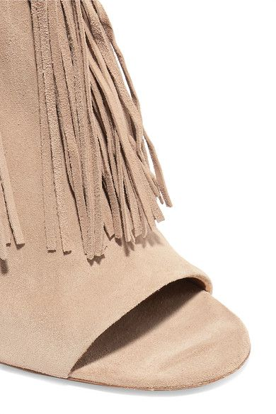 Chloé - Tasseled Suede Ankle Boots - Beige - IT36