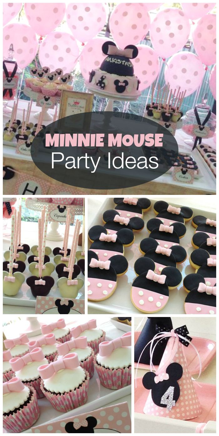 Minnie Mouse parties are so popular, like this adorable pink party with lots of polka dots! See more party ideas at CatchMyParty.com!