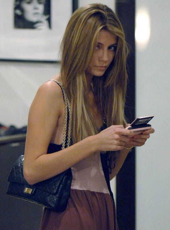Mischa Barton,shy sweet wary glance up from texting <3 Chanel Reissue