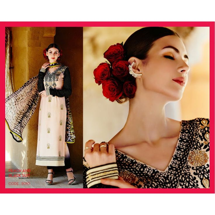 Peach & Black Embroidered Straight Cut Cotton Suit for Party