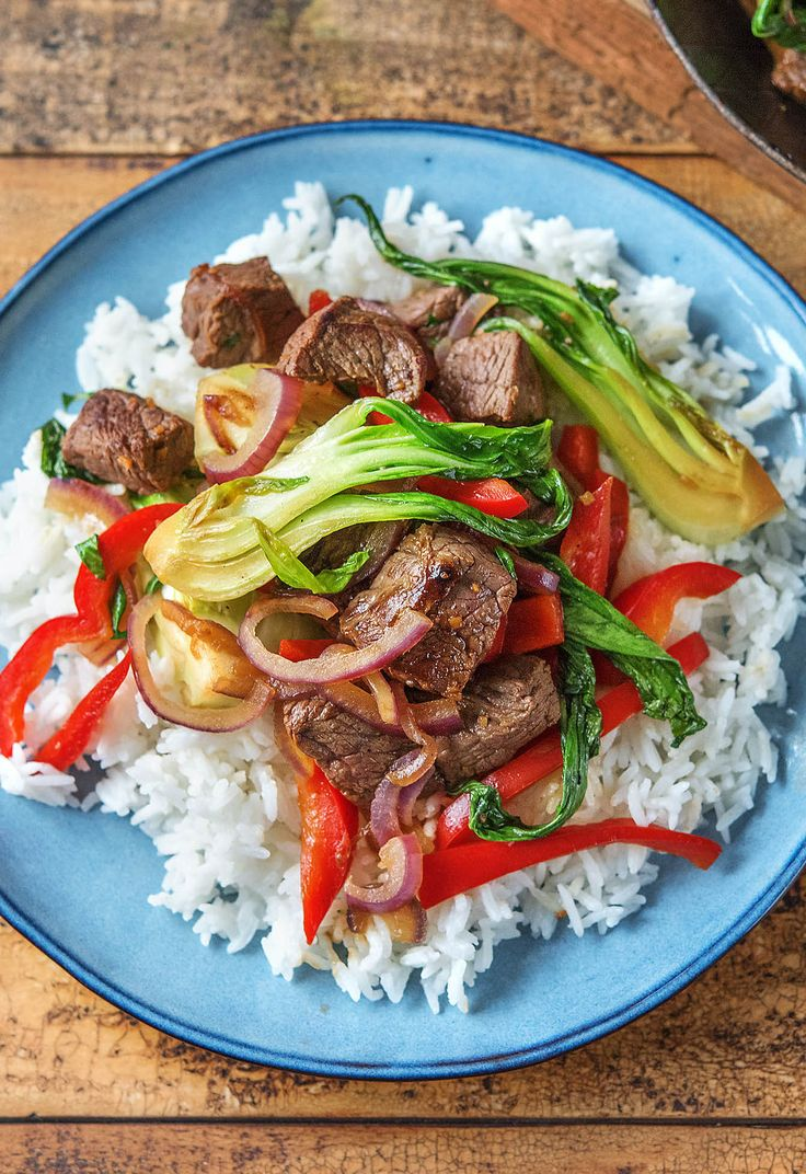 Healthy steak stir-fry with bok choy and red peppers | More delicious recipes on www.hellofresh.com