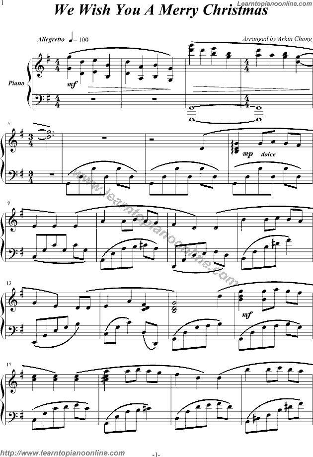 Printable Christmas Music for Piano Merry Christmas