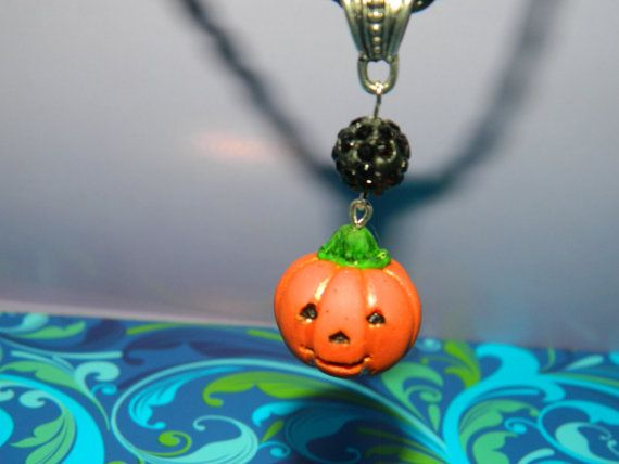 sweet pendant Jack-o-lantern from polymer clay for Halloween length 2.5 cm