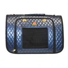 Dark Blue Diamond Pattern Pet Carrier with Golden Twisting Buckle