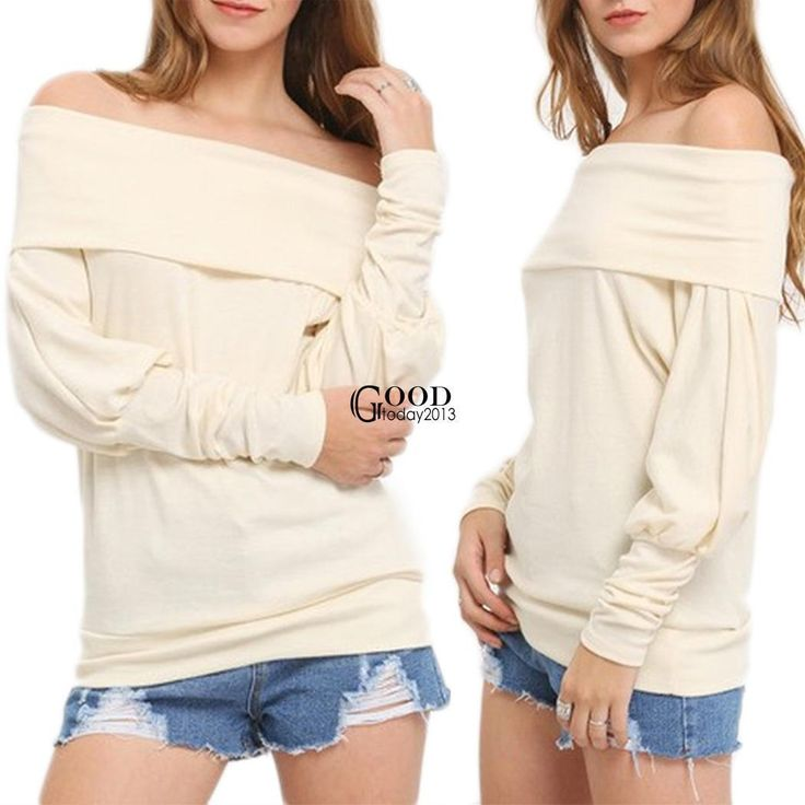 Womens Off The Shoulder Blouse Shirt Strapless T-Shirt Casual Baggy Tee Top