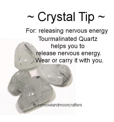 To release nervous energy. Tourmalated Quartz Healing Crystal. cleansing, grounding, assists with clear thinking.  Protects from unhealthy energy. Clears energy patterns