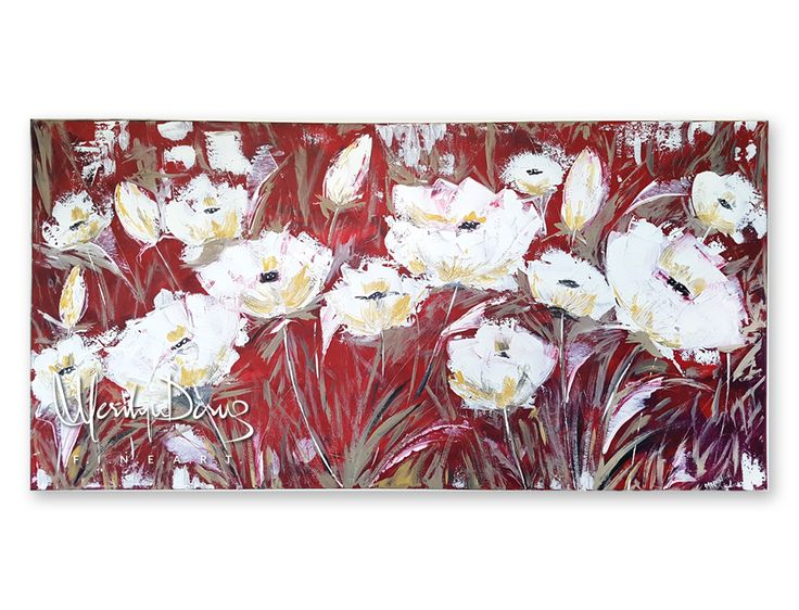 """Original Abstract Poppy Fields painting created with Palette Knives 24"""" x 48"""" x .75""""  https://www.etsy.com/ca/listing/472892756/palette-knife-original-artwork-textured?ref=shop_home_feat_2"""
