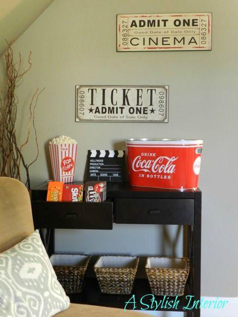 love this stylish media room the snack bar is fun - Media Room Decor
