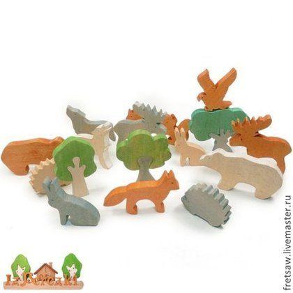 Игрушки животные, ручной работы. Ярмарка Мастеров - ручная работа Лесные животные. Набор деревянных фигурок.. Handmade.