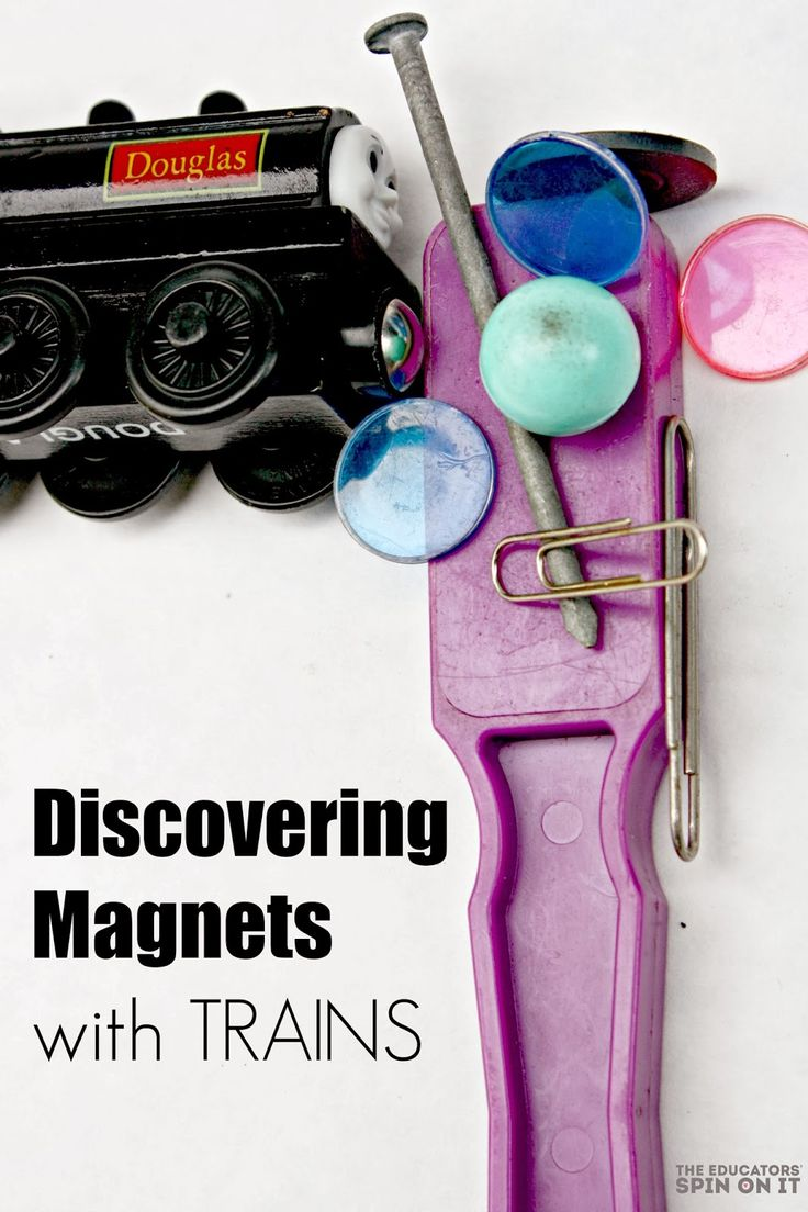 Exploring Science with Trains; Simple Science Activities for Children: magnetic activities, magnet strength challenge.  Great science activities for preschool ages