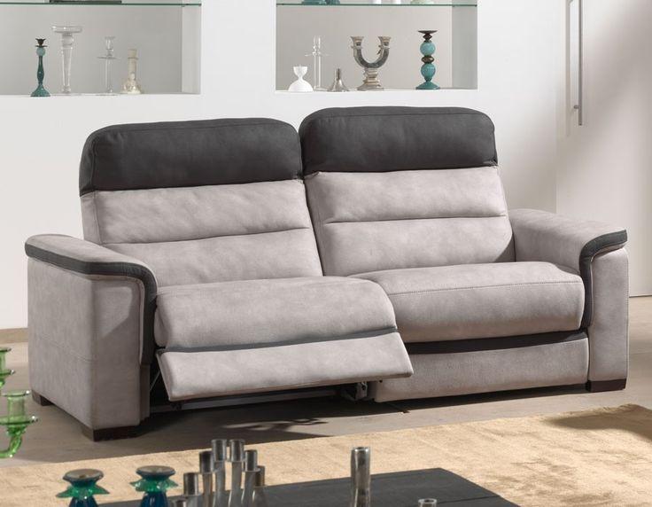 canap 3 places relax gris et noir en tissu mozart - Canape 3 Places Relax